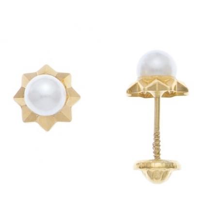 Aretes con perla de 2.5mm con base de estrella