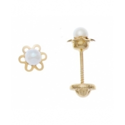 Aretes con perla de 2.5mm con base de flor