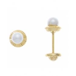 Aretes con perla de 3.5mm con base redonda tallada