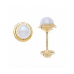 Aretes con Bisel y perla 3mm