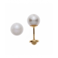 Aretes con perla de 5mm con plato en oro