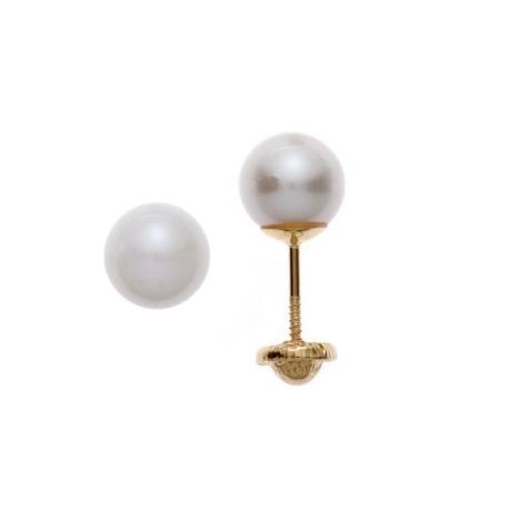 Aretes con perla de 7mm  con plato en oro